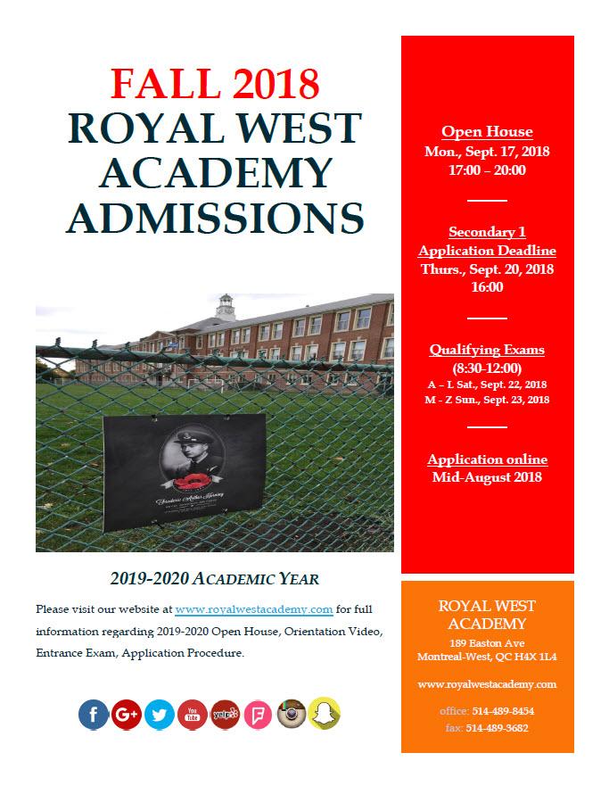 RWA Admissions 2019-20