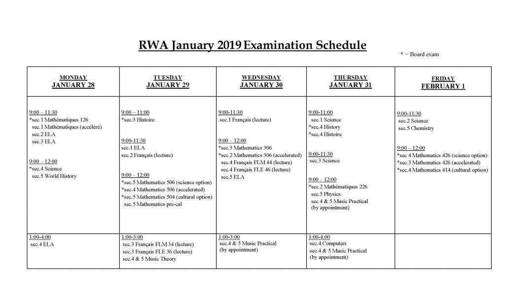 January 2019 Exam schedule FINAL