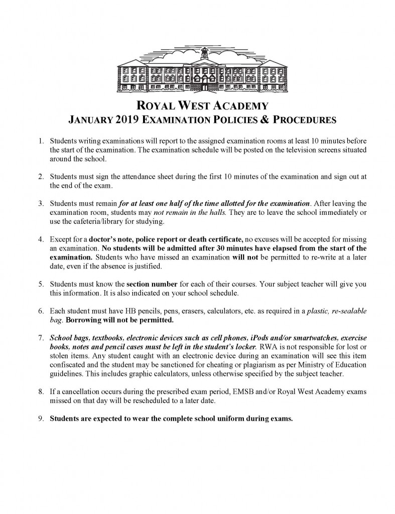 January 2019 Exam Policies
